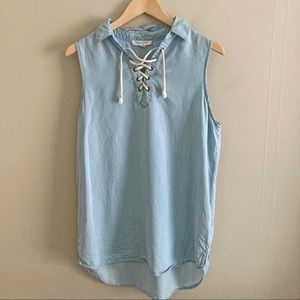 BEACHLUNCHLOUNGE chambray blue lace up tunic top